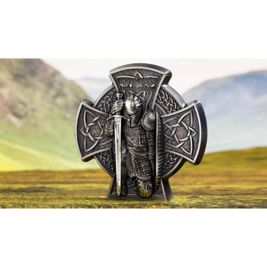 Isle of Man MANANNAN 1st KING of MANN (Son Of The Sea) 5£ Silver Coin Antique finish 2019 High Relief 3 oz