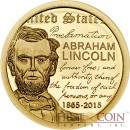 Mongolia ABRAHAM LINCOLN 150th ANNIVERSARY Gold Coin 1000 Togrog 2015 Proof