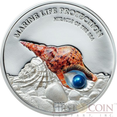 Palau MIRACLE OF THE SEA TRITON TRUMPETS series MARINE LIFE PROTECTION $5 Silver coin 2016 Real pearl Proof 1 oz
