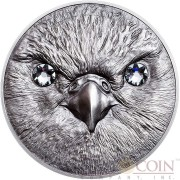 Mongolia SAKER FALCON series WILDLIFE PROTECTION 500 Togrog Silver coin 2016 Antique finish 1 oz