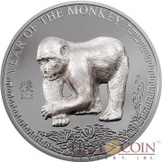 Mongolia YEAR OF THE MONKEY Series LUNAR Silver Coin 500 Togrog  2016 Handmade Silver 3D Monkey Figure Dark Proof