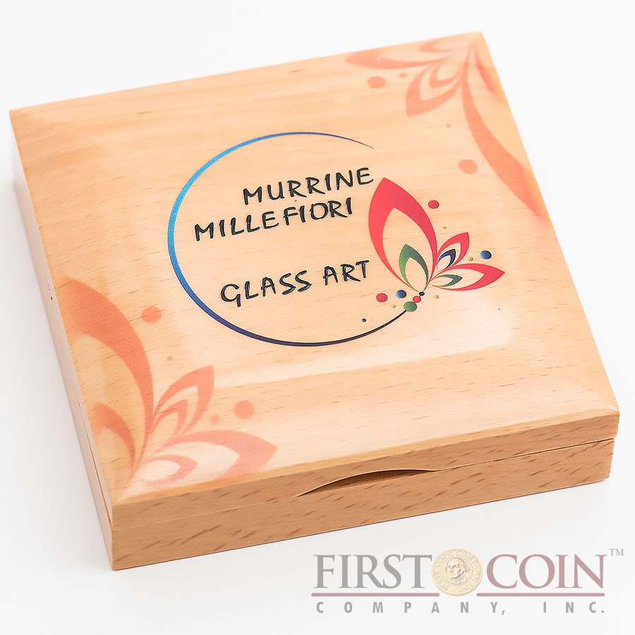 Cook Islands MURRINE MILLEFIORI series GLASS ART $5 Silver Coin 2016 Glass Heart and Ring