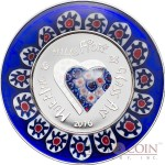 Cook Islands MURRINE MILLEFIORI series GLASS ART $5 Silver Coin 2016 Glass Heart and Ring