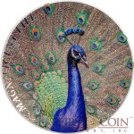 Cook Islands PEACOCK Series MAGNIFICENT LIFE Silver Coin $5 Concave shape Brilliant life-like colours 2015 Sensational High-Relief Proof Smartminting 1 oz