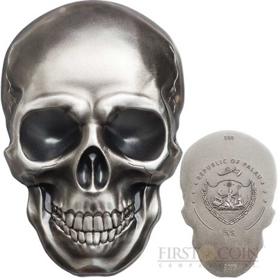 Republic of Palau 3D SKULL NUMBER 1 Silver Coin $5 Antique finish 2016 Smartminting technology 1 oz