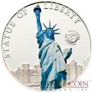 Palau STATUE OF LIBERTY NEW YORK series WORLD OF WONDERS Silver Coin $5 High Quality Printing High Details 2010 Proof
