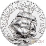 Cook Islands THE GREAT TEA RACE OF 1866 150th Anniversary $10 Silver Coin 2016 Smartminting Proof 2 oz