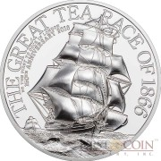 Cook Islands THE GREAT TEA RACE OF 1866 150th Anniversary $2 Silver Coin 2016 Smartminting Proof