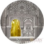 Palau 11th Edition ALHAMBRA DE GRANADA SPAIN NASRID STYLE series TIFFANY ART Silver coin $10 Antique finish 2015 Ultra High Relief 2 oz
