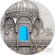 Palau 12th Edition AMAR SAGAR INDIA JAIN ART series TIFFANY ART Silver coin $10 Antique finish 2016 Ultra High Relief Smartminting 2 oz