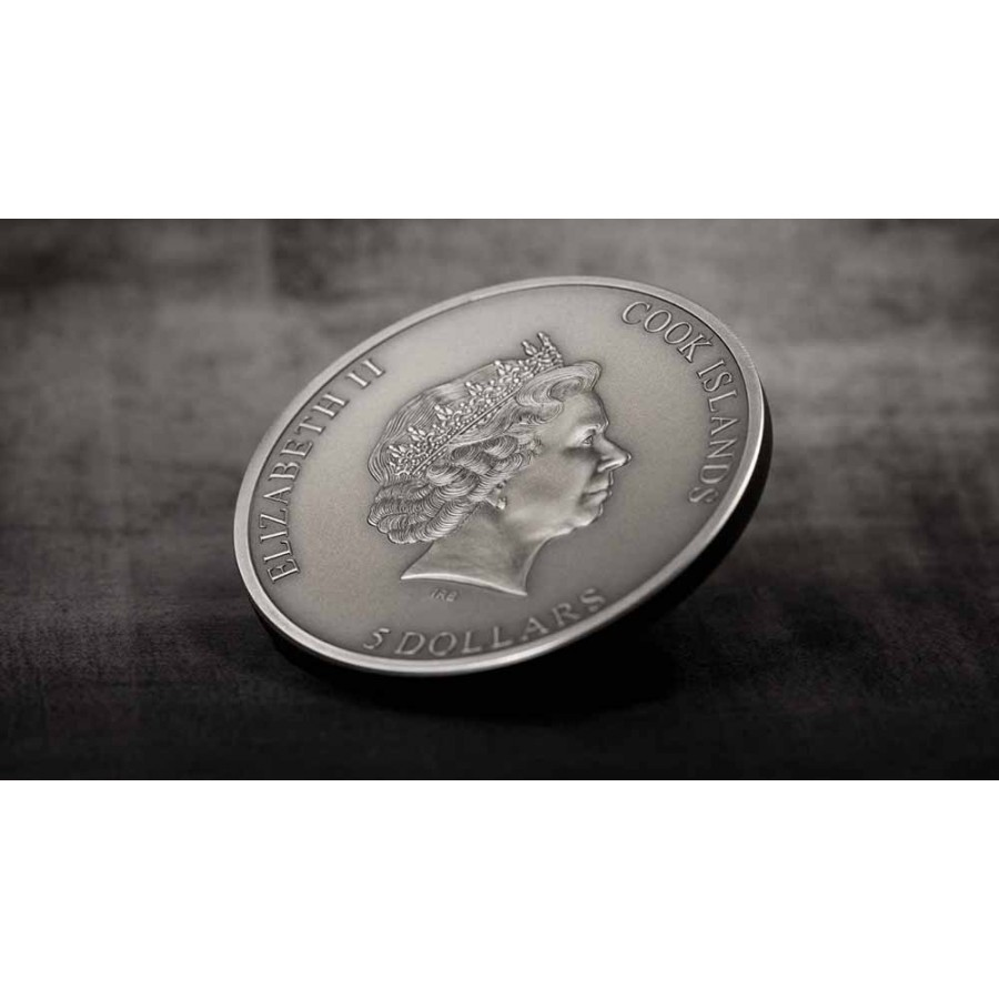 Cook Islands TRAPPED (face) $5 Silver Coin 2019 Antique finish Smartminting 1 oz