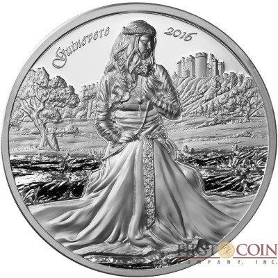 Cook Islands GUINEVERE - WIFE OF KING ARTHUR series LEGENDS OF CAMELOT $10 Silver Coin 2016 Ultra High Relief Smartminting technology Proof 2 oz