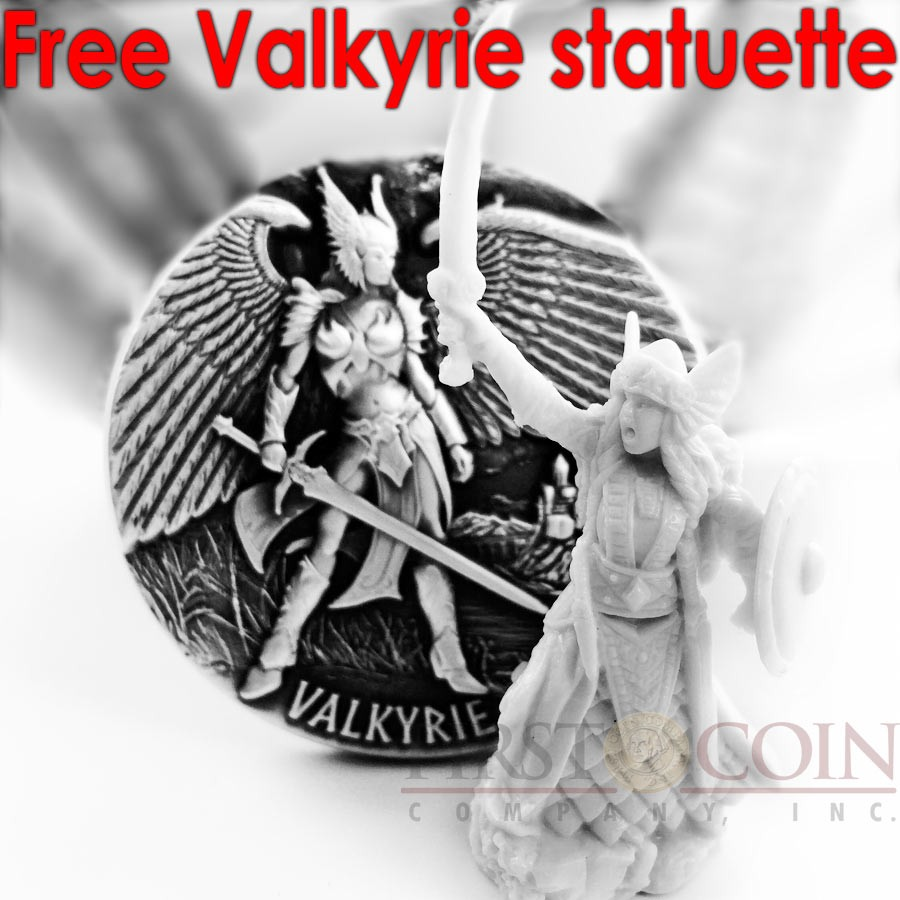 Tokelau VALKYRIE Mythical series LEGENDS OF ASGARD Silver Coin $10 Antique finish 2016 Max Relief Minting 3 oz