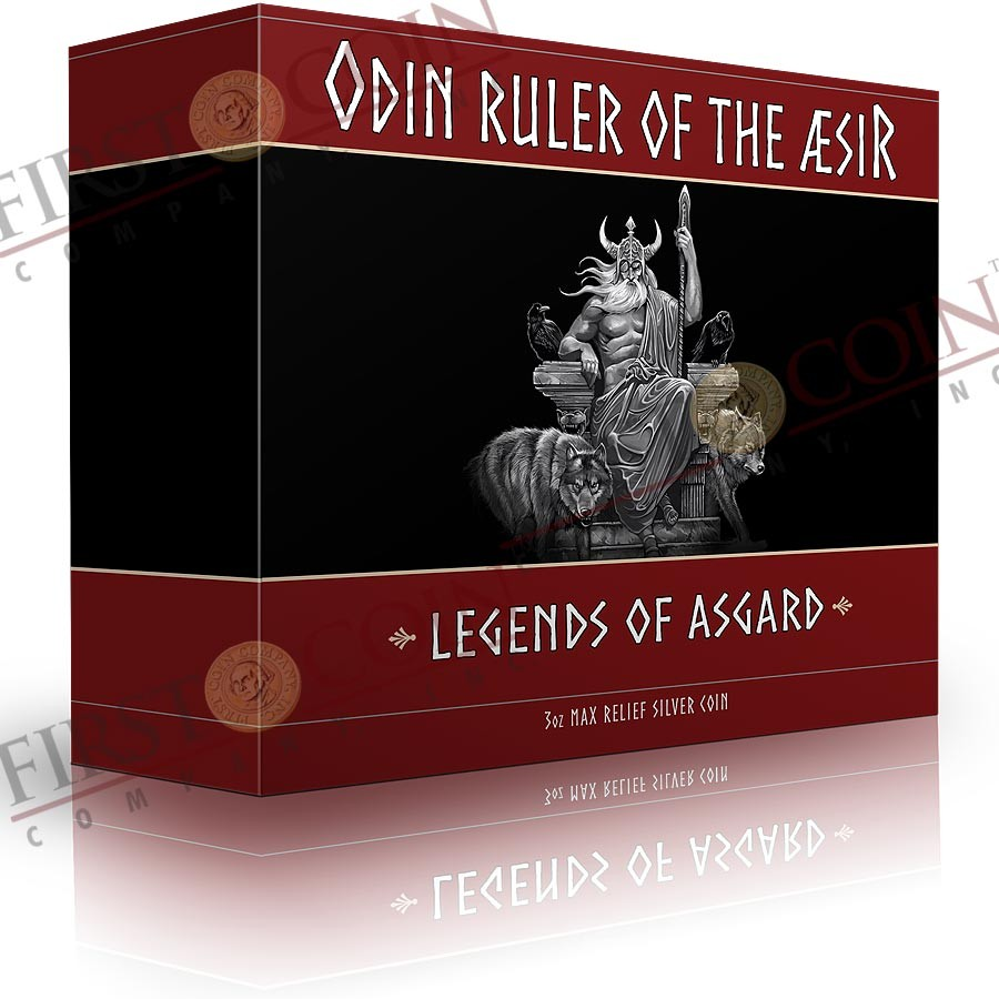 #0001 Tokelau ODIN - RULER OF THE AESIR Mythical series LEGENDS OF ASGARD Silver Coin $10 Antique finish 2016 Max Relief Minting 3 oz
