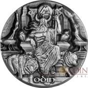 #0007 Tokelau ODIN - RULER OF THE AESIR Mythical series LEGENDS OF ASGARD Silver Coin $10 Antique finish 2016 Max Relief Minting 3 oz