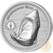 Niue Island THE MEGALODON SHARK $2 Silver Coin 2017 Proof 1 oz