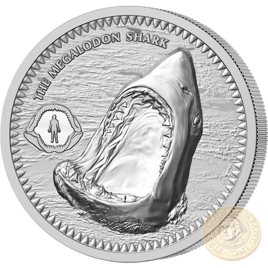 Niue Island The Megalodon Shark 2 Silver Coin 2017 Proof 1 Oz