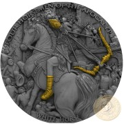 Niue Island WHITE HORSE series FOUR HORSEMEN OF THE APOCALYPSE $5 Silver Coin 2018 Antique finish Ultra High Relief Gold plated 2 oz