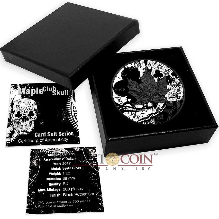 Canada CLUBS MAPLE SKULL CANADIAN MAPLE LEAF Series CARD SUIT $5 Silver Coin 2017 Black Ruthenium 1 oz