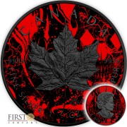 Canada MAPLE DIAMOND SKULL CANADIAN MAPLE LEAF Series CARD SUIT $5 Silver Coin 2017 Black Ruthenium 1 oz