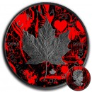 Canada HEARTS MAPLE SKULL CANADIAN MAPLE LEAF Series CARD SUIT $5 Silver Coin 2018 Black Ruthenium 1 oz