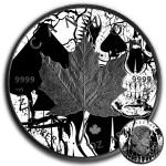 Canada SPADES MAPLE SKULL CANADIAN MAPLE LEAF Series CARD SUIT $5 Silver Coin 2018 Black Ruthenium 1 oz