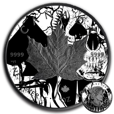 Canada SPADES MAPLE SKULL CANADIAN MAPLE LEAF Series CARD SUIT $5 Silver Coin 2018 Black Ruthenium 1 oz