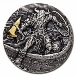 Niue Island ERIC BLOODAXE series VIKINGS $5 Silver Coin 2020 Antique finish Ultra High Relief Gold plated 2 oz