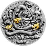 Niue Island LERNAEAN HYDRA series TWELVE LABOURS OF HERCULES $5 Silver Coin 2019 Antique finish Ultra High Relief Gold plated 2 oz