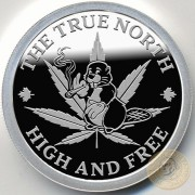 CANADA LEGALIZING MARIJUANA 17 October 2018 Silver Round Coin TOKING BEAVER - TRUE NORTH - HIGH AND FREE Proof 1 oz