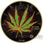 USA SATIVA CANNABIS series BURNING MARIJUANA American Silver Eagle Walking Liberty $1 Silver coin 2018 Black Ruthenium & Gold plated 1 oz
