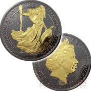 United Kingdom BRITANNIA series BLACKOUT COLLECTION ₤2 Silver coin 2017 Black Ruthenium & Gold Plated on two sides 1oz