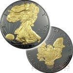 USA AMERICAN SILVER EAGLE WALKING LIBERTY series BLACKOUT COLLECTION $1 Silver coin 2016 Black Ruthenium & Gold Plated on two sides 1 oz