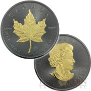 Canada CANADIAN MAPLE LEAF series BLACKOUT COLLECTION $5 Silver coin 2015 Black Ruthenium & Gold Plated on two sides 1oz