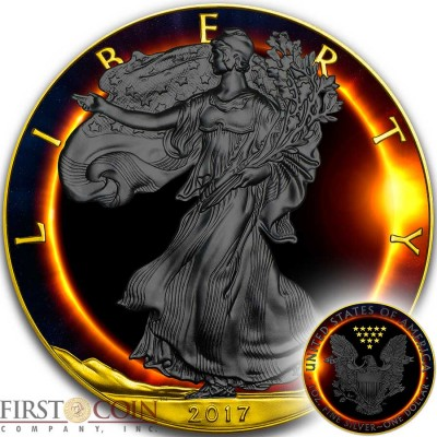 USA TOTAL SOLAR SUN ECLIPSE American Silver Eagle Walking Liberty $1 Silver coin 2017 Black Ruthenium & Gold Plated 1 oz