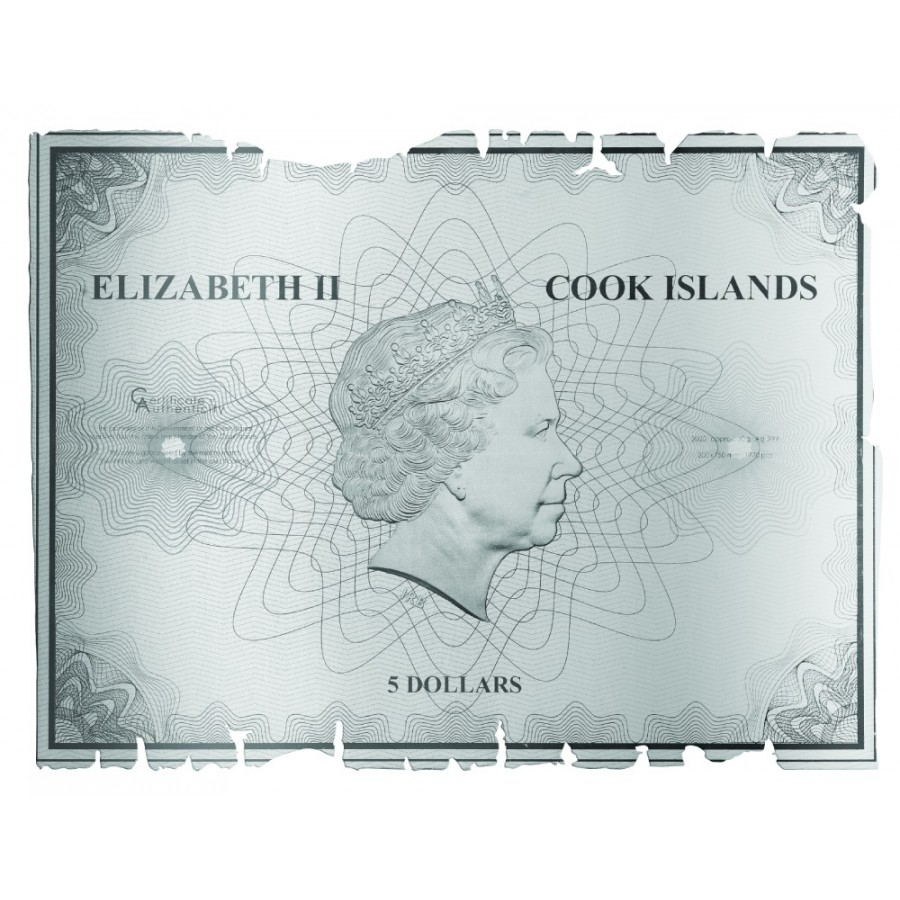 Cook Islands CAPTAIN COOK'S JOURNEY OF DISCOVERY AUSTRALIA EAST COAST $5 Silver Coin 2020 Old Map-Shaped 1 oz