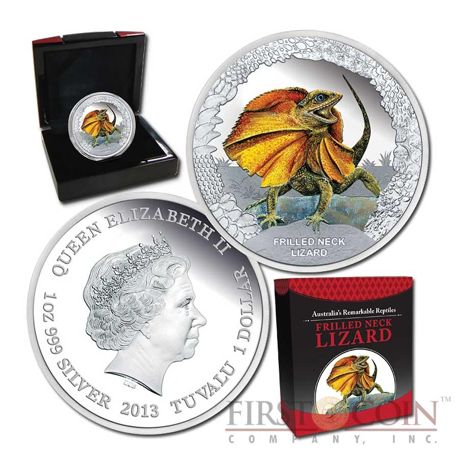 """Tuvalu Frilled Neck Lizard """"Remarkable Reptiles"""" series Silver coin $1 Colored 2013 Proof 1 oz"""