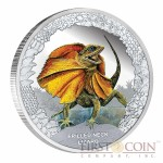 "Tuvalu Frilled Neck Lizard ""Remarkable Reptiles"" series Silver coin $1 Colored 2013 Proof 1 oz"