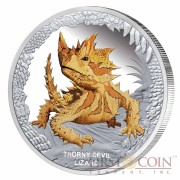 "Tuvalu Thorny Devil Lizard ""Remarkable Reptiles"" series Silver coin $1 Colored 2014 Proof 1 oz"
