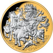 Niue Island GREAT LUNAR RACE - 12 CHINESE ZODIACS series LUNAR CALENDAR $8 Silver coin 2021 Gold plated Proof 5 oz