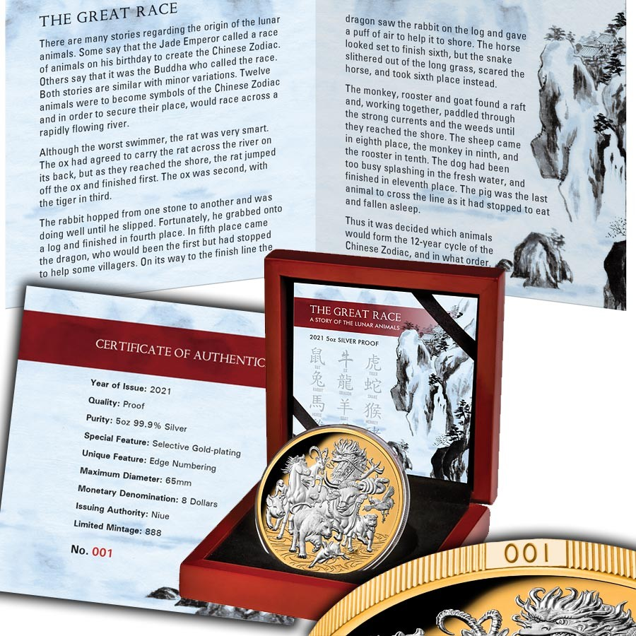 Niue Island GREAT LUNAR RACE - 12 CHINESE ZODIACS series LUNAR CALENDAR $8 Silver coin OX BULL 2021 Gold plated Proof 5 oz