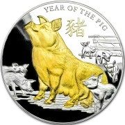 Niue Island YEAR OF THE PIG-BOAR series LUNAR CALENDAR $8 Silver coin 2019 Gold plated Proof 5 oz