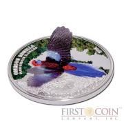 "Cook Islands Crimson Rosella ""World Of Parrots - 3D"" series Silver coin $5 Colored 2014 Proof"