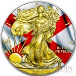 USA ALABAMA series US STATES FLAGS $1 Gold Plated 2015 Silver coin 1oz