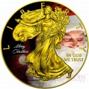 USA MERRY CHRISTMAS SANTA CLAUS AMERICAN SILVER EAGLE WALKING LIBERTY $1 Silver coin 2016 Gold Plated 1 oz