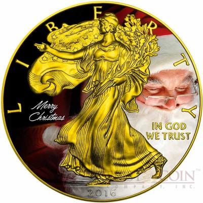 USA MERRY CHRISTMAS SANTA CLAUS AMERICAN SILVER EAGLE WALKING LIBERTY $1 Silver coin 2016 Gold Plated 1 oz