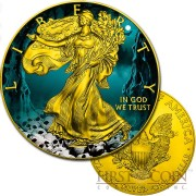 USA HALLOWEEN AMERICAN SILVER EAGLE $1 WALKING LIBERTY Silver coin 2016 Gold Plated 1 oz