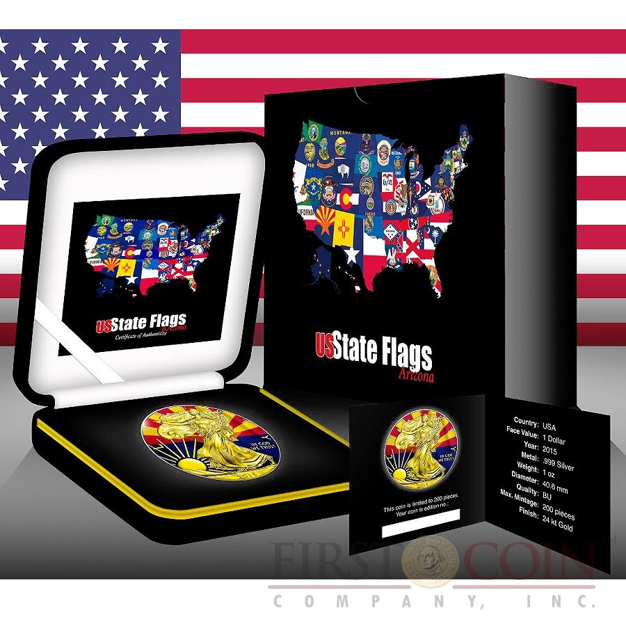 USA ARIZONA series US STATES FLAGS $1 Gold Plated 2015 Silver coin 1 oz
