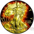 USA BURNING AMERICAN SILVER EAGLE $1 WALKING LIBERTY Black Ruthenium & Gold Plated 1 oz 2014