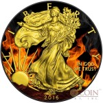USA BURNING AMERICAN SILVER EAGLE $1 WALKING LIBERTY Silver coin 2016 Black Ruthenium & Gold Plated 1 oz